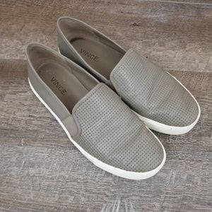 Vince Shoes - Vince Blair Slip On Leather Shoes Grey White